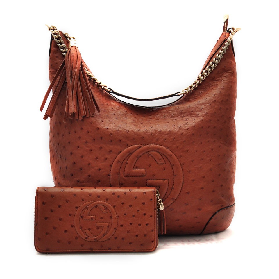 Gucci Ostrich Shoulder Bag Wallet DreamLux Studio