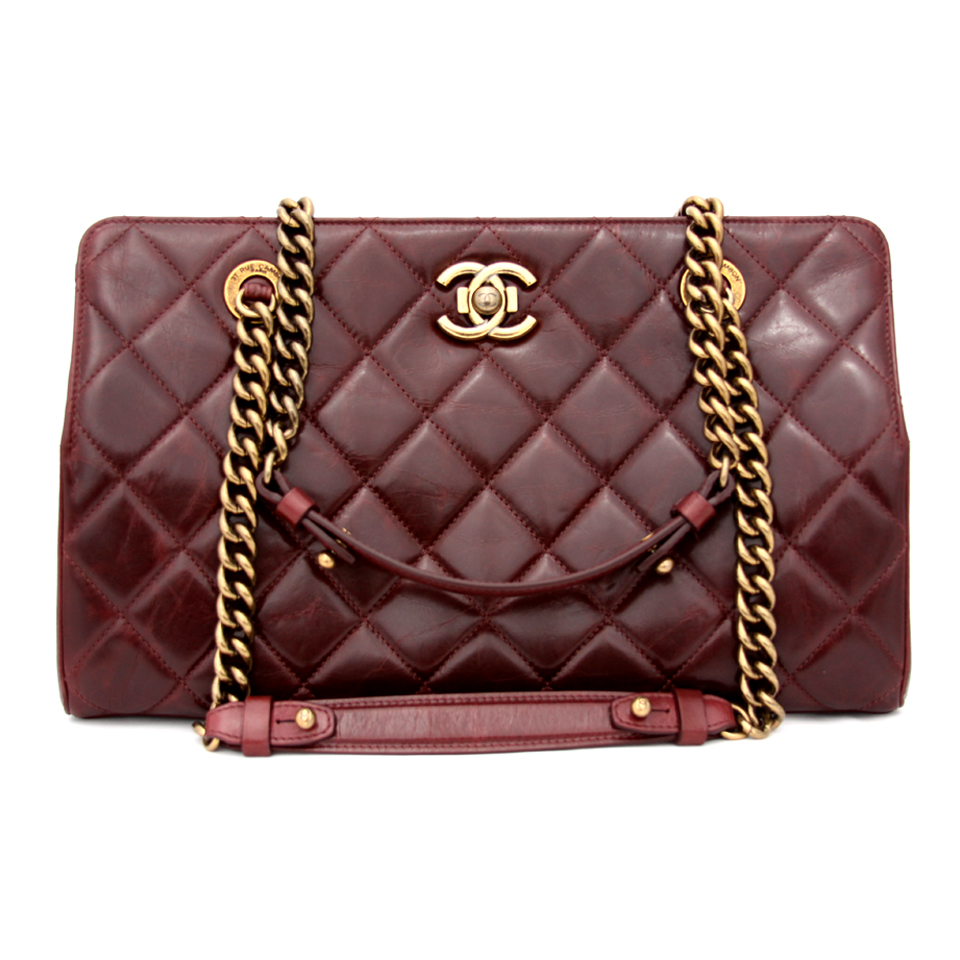 4597f5008245 Chanel Burgundy Quilted Leather Perfect Edge Tote Bag