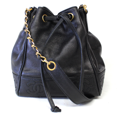 chanel black caviar leather drawstring bucket bag