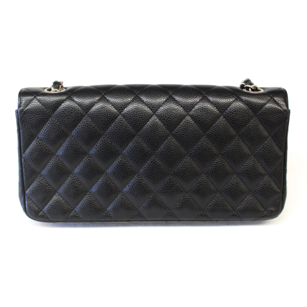 9ab6c7de3553 Chanel Black Caviar Leather Classic East West Flap Quilted Clutch Bag