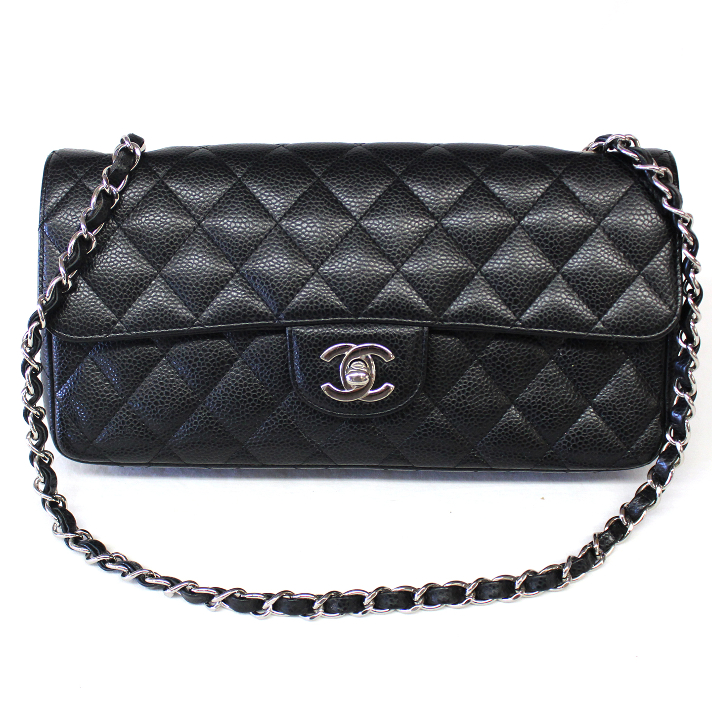 Chanel Black Caviar Leather Classic East West Flap Quilted