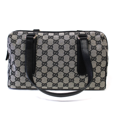 Gucci GG Boston Grey & Black Canvas Satchel Bag