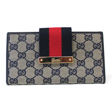 Gucci GG Canvas Continental Flap Striped Wallet