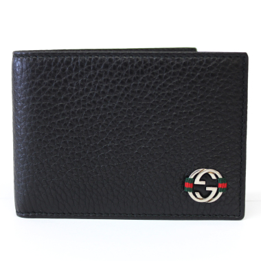 gucci black leather small bi-fold wallet