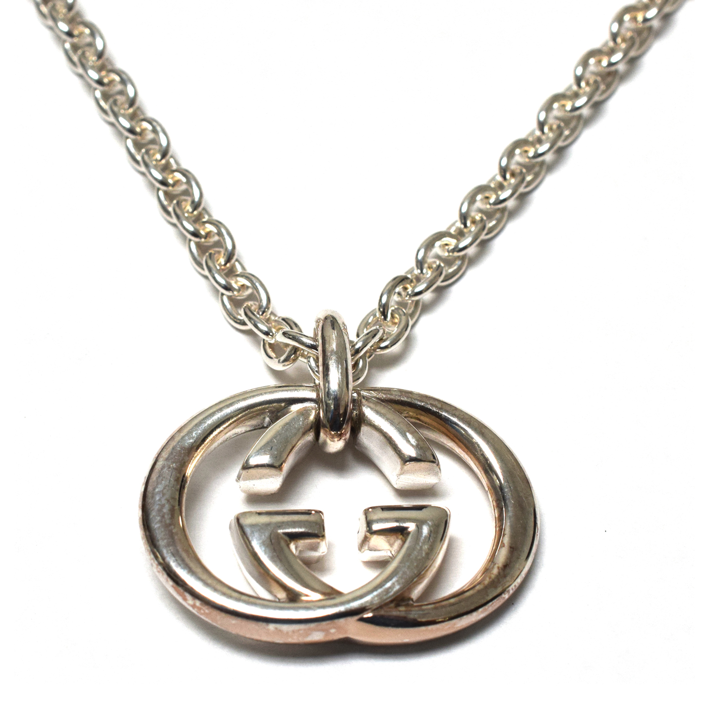 Gucci Sterling Silver Necklace With Interlocking G Motif