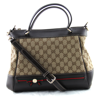 gucci gg canvas & leather mayfair top handle bag