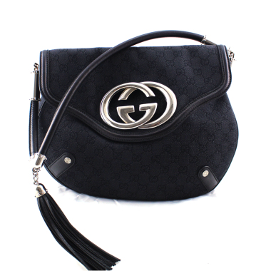 gucci gg black canvas handbag with interlock g