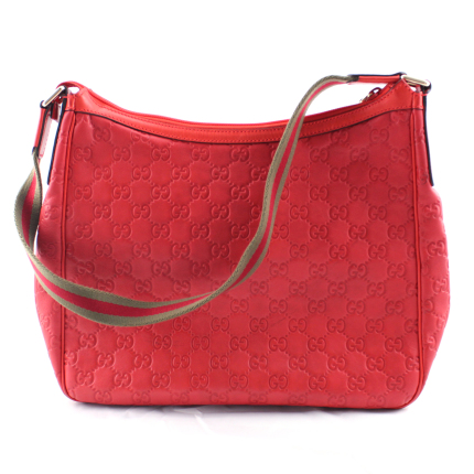 gucci guccissima red leather shoulder bag