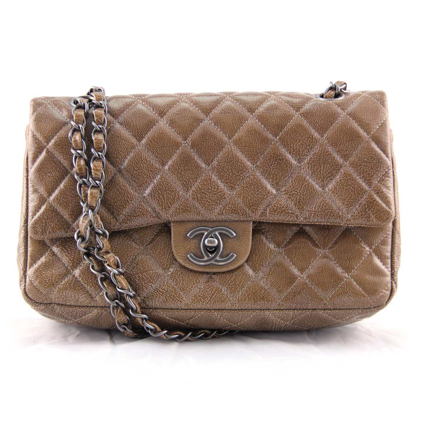 Chanel Patent Leather Quilted Classic Medium Flap Bag