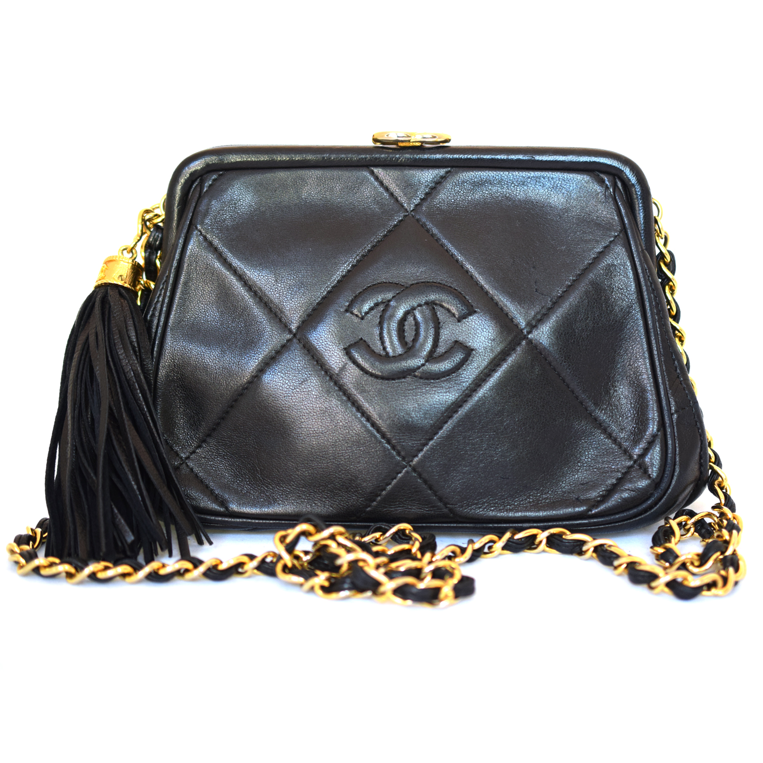 Vintage Chanel Quilted Leather Handbag With Tassel